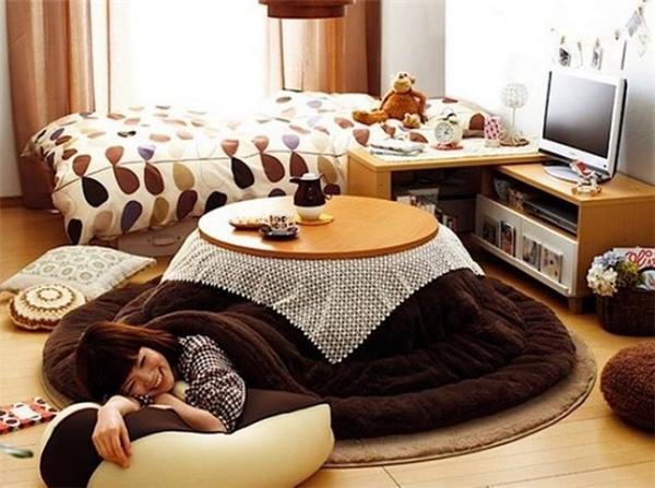 Vào mùa đông, còn gì sung sướng hơn là được quây quần xung quanh những chiếc bàn có chăn phủ ấm cúng với một chiếc lò sưởi bên dưới như thế này.