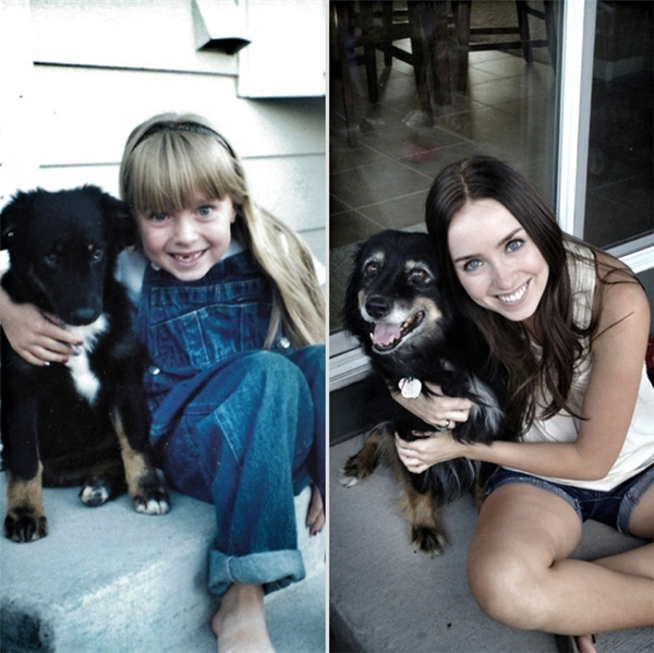 Chú chó và cô chủ nhỏ sau 4 năm cạnh nhau.
