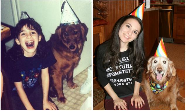 Chú chó Brandy vàosinh nhật đầu tiên và sinh nhật năm15 tuổi của mình.