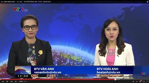 BTV Vân Anh và Hoài Anh trong một chương trình thời sự.