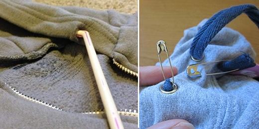 """Nếu chiếc áo khoác hay áo hoodie yêu thích của bạn bị tuột dây ngay trên cổ áo thì hãy sử dụng ngay ống hút hay hai chiếc kim gút để """"nối"""" dây vào áo bạn nhé."""