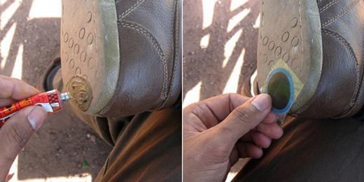"""Những miếng vá xe đạp là phương án hữu dụng để """"vá"""" lại các lỗ hổng trên đế giày cao su của bạn đấy!"""