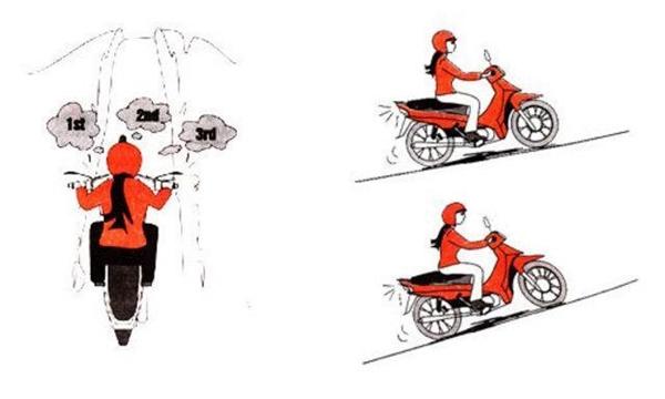 Kĩ thuật leo dốc khi chạy xe số. (Ảnh: internet)