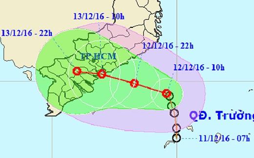Hướng đi của áp thấp nhiệt đới sắp đổ bộ vào Sài Gòn nói riêng và vùng Nam Bộ nói chung gây ra mưa lớn kéo dài trên diện rộng.