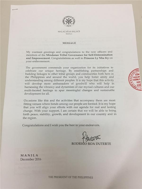 """Việc tấn phong """"công chúa Lý Nhã Kỳ"""" đã đến tai tổng thống Philippines"""