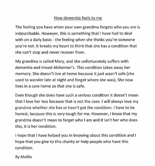 Nội dung bức thư gây xúc động của Mollie.(Ảnh: Internet)