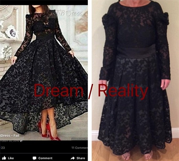 Chiếc váy mơ ước và thứ thực tế bạn nhận được là một trời một vực.