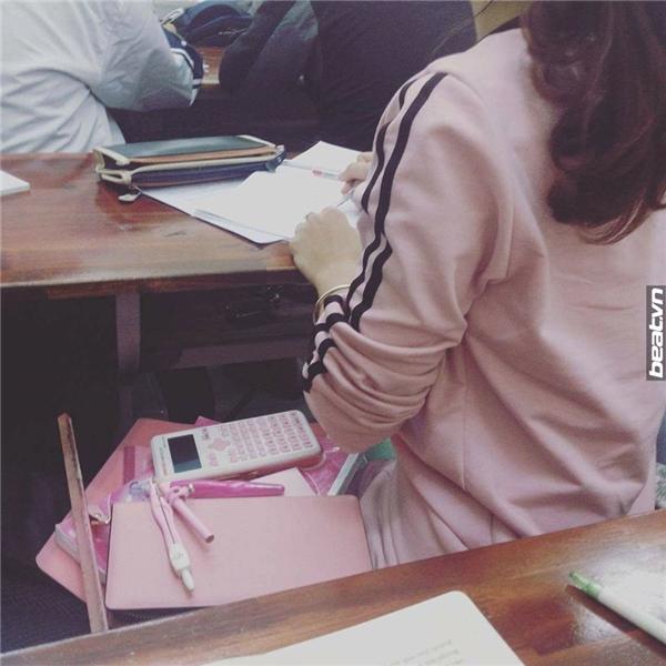 Bức ảnh chụp lén cô gái yêu màu hồng khiến dân mạng thích thú.(Ảnh: Internet)