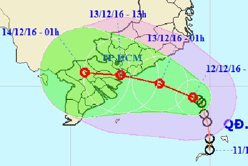 Do ảnh hưởng của áp thấp nhiệt đới kết hợp với nhiễu động gió Đông, khu vực Nam Bộ cũng bị ảnh hưởng từ (50-100 mm) lượng mưa, trong mưa giông có thể xảy ra lốc xoáy.