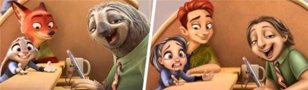 Bộ ba Nick, Judy và Flash của Zootopia.