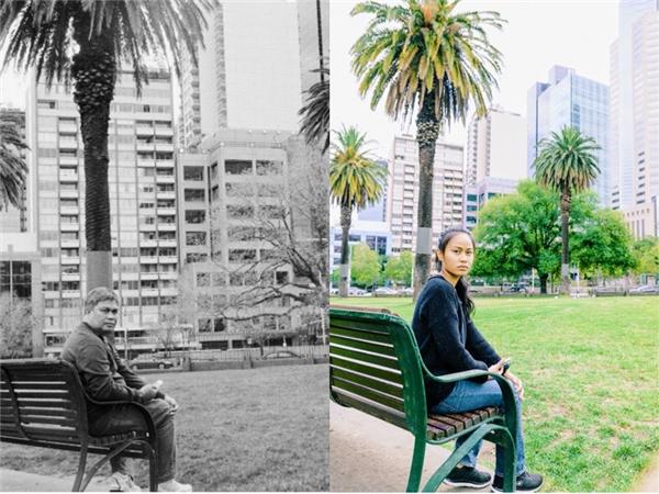 """Cô gái Sarah Chrisya (25 tuổi) tái hiện lại những tấm ảnh cũ của bố trong chuyến du lịch đến Melbourne, Australia, vào dịp kỷ niệm 3 năm ngày ông mất. Cô gái thể hiện lại chính xác từng dáng điệu, cử chỉ, cảm xúc của bố mình trong những tấm ảnh ngày xưa, tại đúng vị trí mà ông được chụp, cùng với lời thông điệp rằng, """"Hãy dành nhiều thời gian hơn cho bố mẹ, đừng đợi đến khi quá muộn."""""""