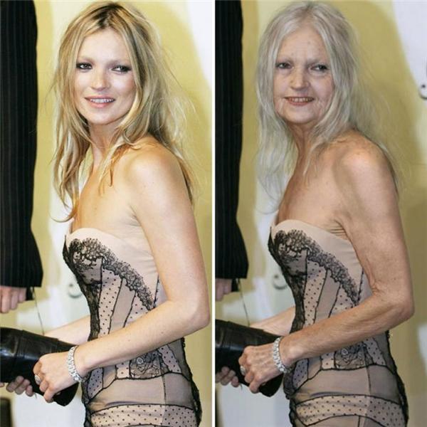 Không còn ai nhận ra đây chính là siêu mẫu Kate Moss nữa.