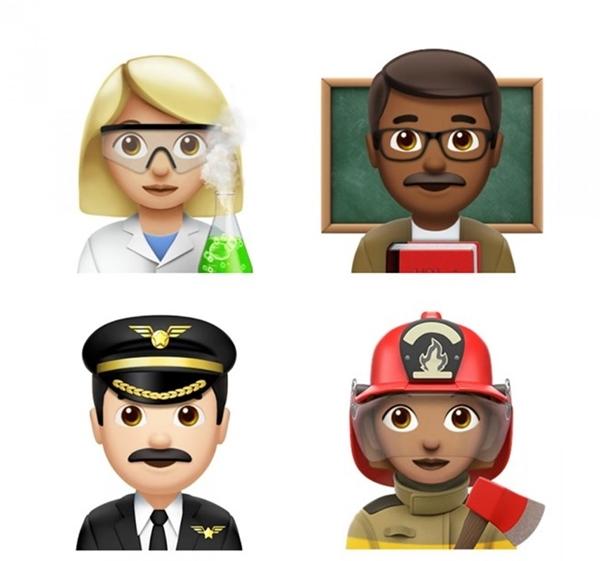 16 biểu tượng emoji ngành nghề khác nhau trong đó có nhà hóa học, giáo viên, cảnh sát, lính cứu hỏa. (Ảnh:Business Insider)