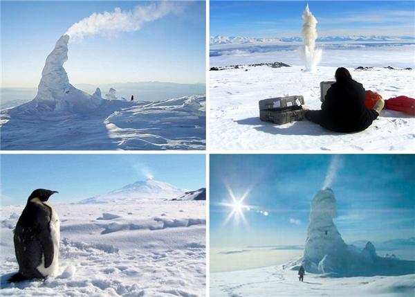 Hiện tượng này xuất hiện tại miệng núi lửa lớn nhấtNam Cực.