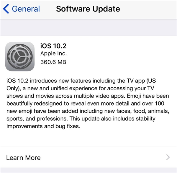 iOS 10.2 có dung lượng cài đặt khoảng 360 MB. (Ảnh: internet)