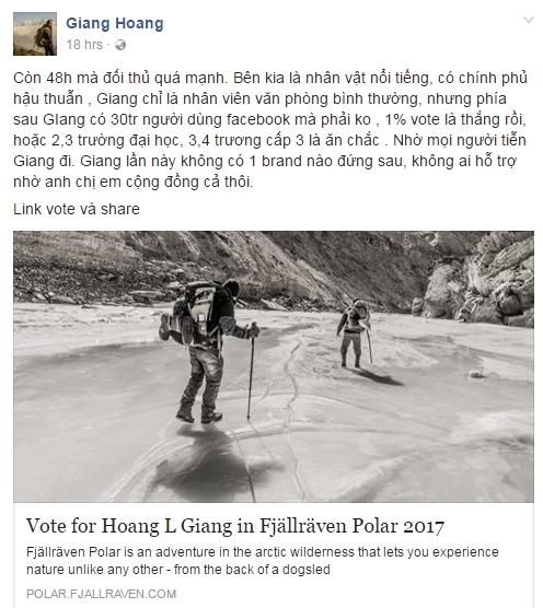 Chỉ còn 1 ngày duy nhất để vote cho người Việt chinh phục Bắc Cực