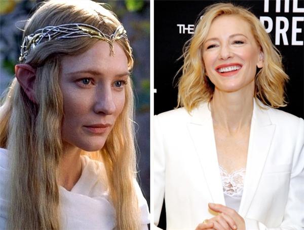 Galadriel (Cate Blanchett): Từ trước khi Chúa Nhẫn ra mắt, Cate Blanchett đã tạo dựng được tên tuổi qua vai diễn Nữ hoàng Elizabeth. Sau khi Chúa Nhẫn kết thúc cho đến tận hôm nay, cô vẫn miệt mài hoạt động nghệ thuật, tham gia hơn 40 bộ phim điện ảnh và 20 vở kịch sân khấu, nhận 2 tượng vàng Oscar cùng hàng loạt giải thưởng lớn nhỏ khác, và một ngôi sao trên Đại lộ Danh vọng Hollywood. Sắp tới, cô sẽ tiếp tục khuấy đảo màn ảnh rộng với vai phản diện Hela trong Thor: Ragnarok của Marvel, lồng tiếng cho vai mụ trăn Kaa trong Jungle Book phiên bản mới, và có một vai thú vị trong Ocean's Eight phiên bản toàn nữ. Ngoài ra, cô còn đảm nhận vai chính trong vở kịch The Present, trình diễn trên sân khấu Broadway lần đầu tiên trong sự nghiệp.