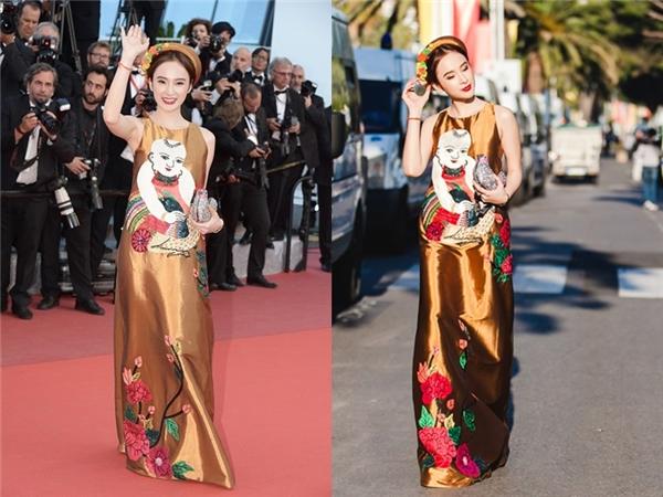Angela Phương Trinh cũng là một trong những nhân tố nổi bật trên thảm đỏ quốc tế 2016. Với bộ váy suông họa tiết tranh dân gian truyền thống đậm chất Việt Nam, nữ diễn viên đã thu hút hàng loạt ống kính, sự quan tâm của khán giả, giới truyền thông khi xuất hiện trên thảm đỏ Cannes 2016.