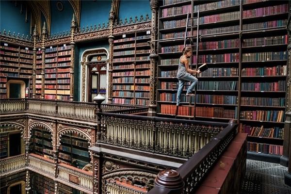 Một cảnh ấn tượng trong một thư viện đầy màu sắc ở Brazil.