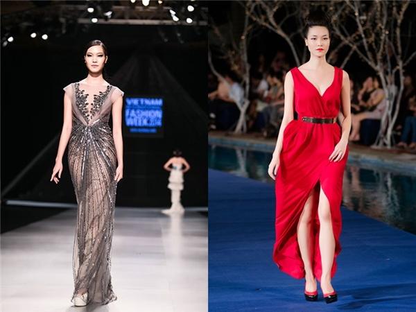 Trong khi đó, Hoa hậu Thùy Dung lại là gương mặt thường xuyên tham gia trình diễn thời trang. Chiều cao 1m79, gương mặt Á đông thu hút cùng những sải bước mạnh mẽ luôn giúp cô thu hút mọi ánh nhìn. Thùy Dung cũng có thần sắc lạnh lùng của một người mẫu thực thụ.