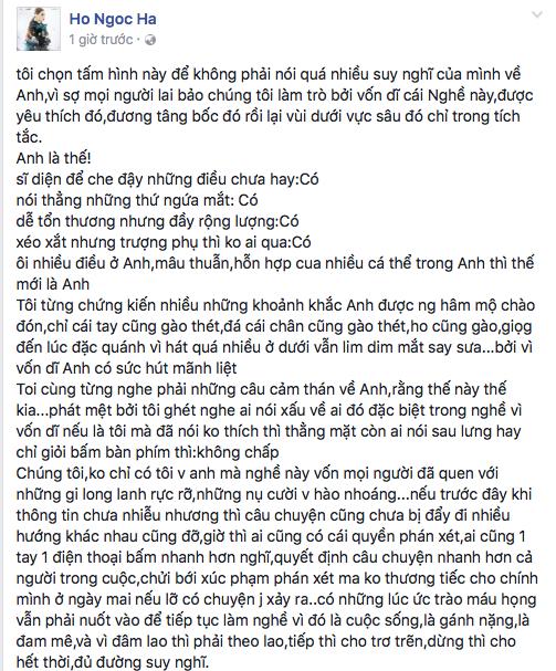 Hồ Ngọc Hà viết tâm thư gây bão: Mr Đàm, anh cứ chiến hết mình! - Tin sao Viet - Tin tuc sao Viet - Scandal sao Viet - Tin tuc cua Sao - Tin cua Sao