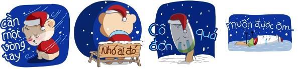 Sticker mùa Noel ế bơ vơ vui nhộn trên ZALO