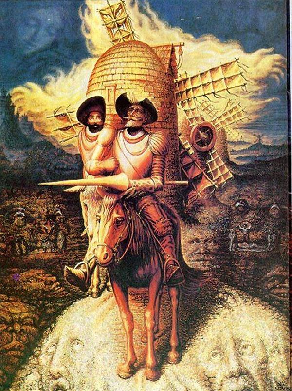Đây là tranh minh họa chàng kỵ sĩ Don Quixote chiến đấu với cối xay gió, nhưng trên tranh không chỉ có chàng và anh người hầu đâu, còn có hàng loạt khuôn mặt khác đấy, bạn có đếm được hết không?