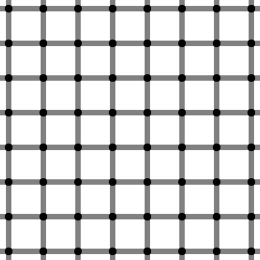 Nếu nhìn lướt qua bạn sẽ thấy các chấm đen đang chớp nháy chuyển sang màu trắng, nhưng trên thực tế đây chỉ là một bức hình tĩnh mà thôi.