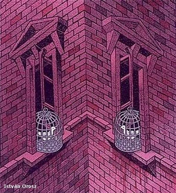 Theo bạn thì hai bức tường này đang nhìn ra hai hướng khác nhau hay đang nhìn vào nhau vậy?