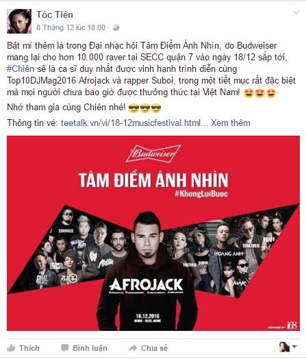 Tóc Tiên chia sẻ trên trang cánhân cô nàng rất háo hức và hồi hộp với lần kết hợp nàyvì cô là nữ nghệ sĩ đầu tiên ở Việt Nam được tham gia trình diễn cùng TOP10 DJ thế giới.