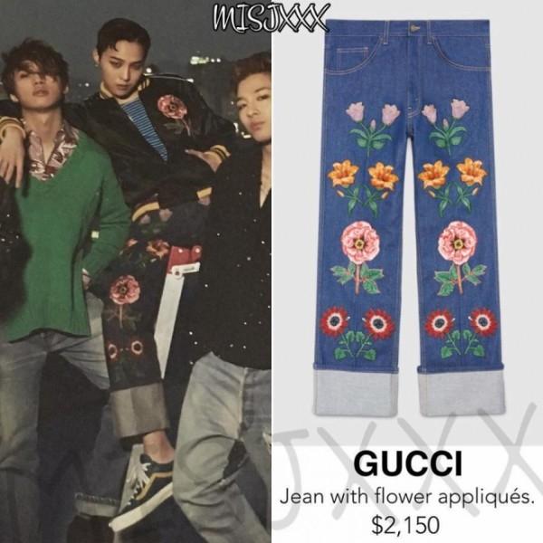 Chiếc quần thêu hoa mang thương hiệu Gucci.