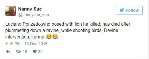 """""""Luciano Ponzetto, người đã chụp hình cùng chú sư tử ông ta giết đã chết sau khi rơi xuống khe núi trong khi đang săn chim trừng, sự kì diệu của tạo hóa, đây chính là luật nhân quả"""" - @nannysue_sue"""