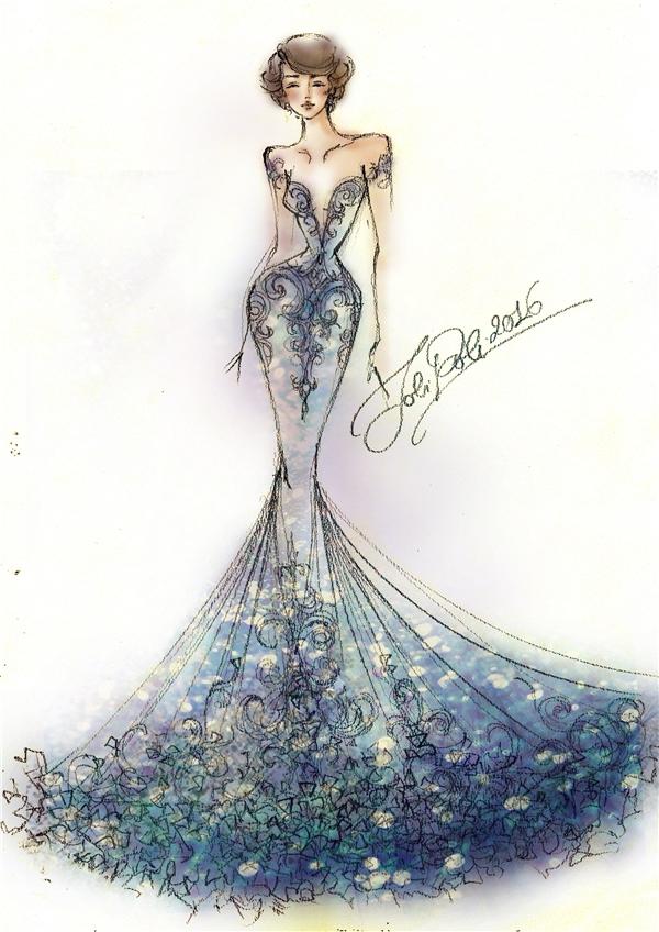 Bản vẽ chính thức thiết kế dự thi Designer of the world của Diệu Ngọc tại Hoa hậu Thế giới 2016.
