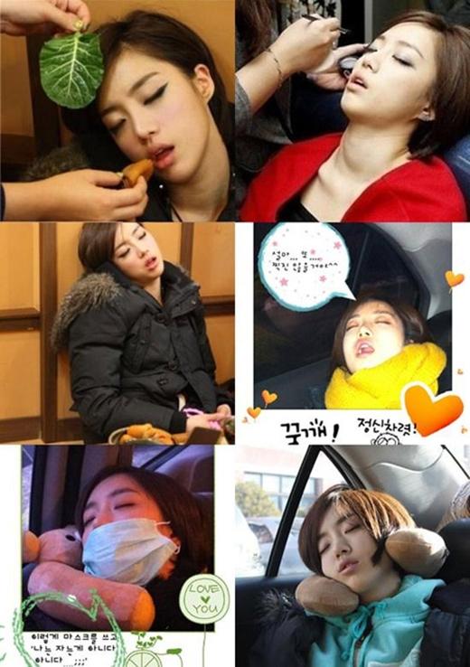 Thành viên T-ara không cưỡng lại cơn buồn ngủ, cô tranh thủngủ mọi lúc mọi nơi.