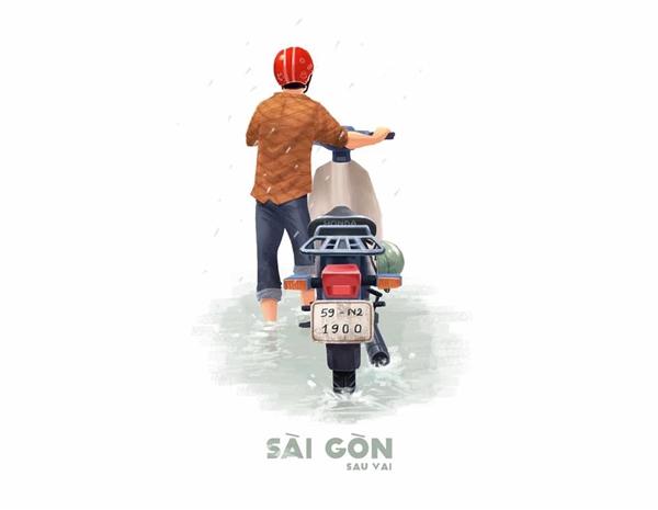 """Đó là một Sài Gòn nước ngập nửa bánh xe vào những mùa mưa, để rồi những chiếc xe """"cà tàng"""" tha hồ chết máy giữa đường. Và rồi những lúc đó, ta mới thấy con người Sài Gòn dễ thương, hào sảng tới mức nào khi sẵn sàng lao ra giữa trời mưa to quất đến rát cả mặt để giúp người dưng."""