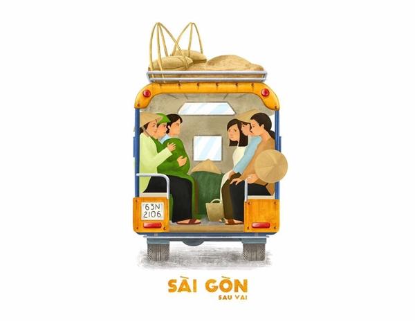 Đó là một Sài Gòn với những bóng lưng của những chiếc áo bà ba sờn cũ, thấm ướt mồ hôi. Đó là các mẹ, các chị từ quê xa lên thăm con cháu, hoặc vừa trở về với mớ thực phẩm tươi ngon cho một bữa trưa đầy đủ dưỡng chất đợi chồng con về.