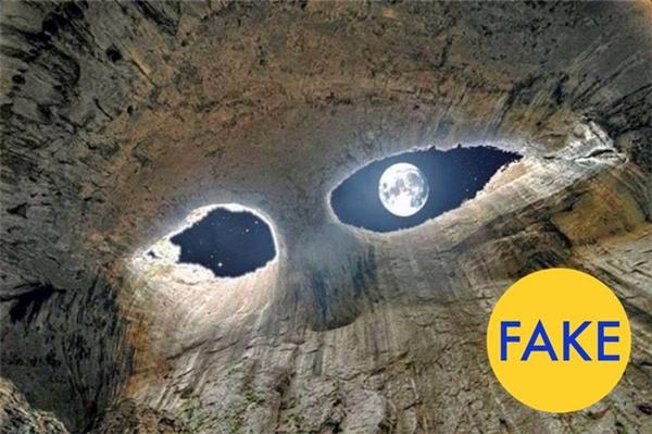Theo tài khoản Twitter Life on Earth, hình ảnh thiên nhiên kí thú này được chụp tạo hang Prohodna ở Bulgaria. Chỉ có điều điều nó là tác phẩm Photoshop 100%. Dù vậy, vẻ đẹp của hang động này là hoàn toàn có thật.