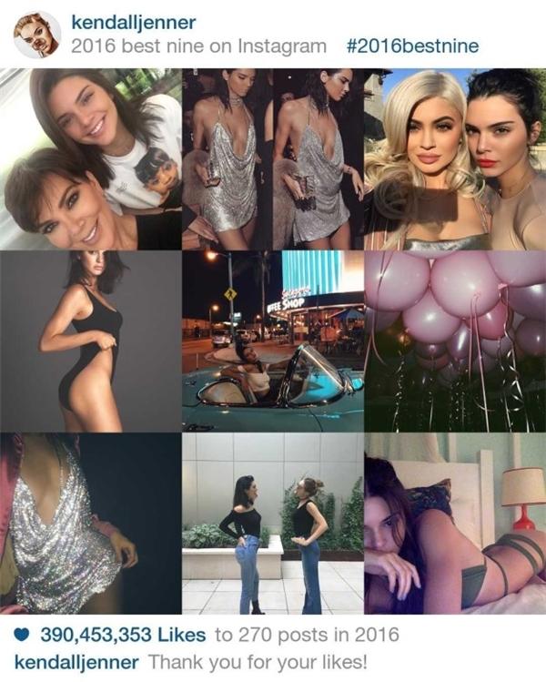 Kendall Jennerlà cái tênxuất hiện trên tạp chí Vogue tháng 9 vừa rồivà nhận được390.453.353 lượt like trong năm qua.