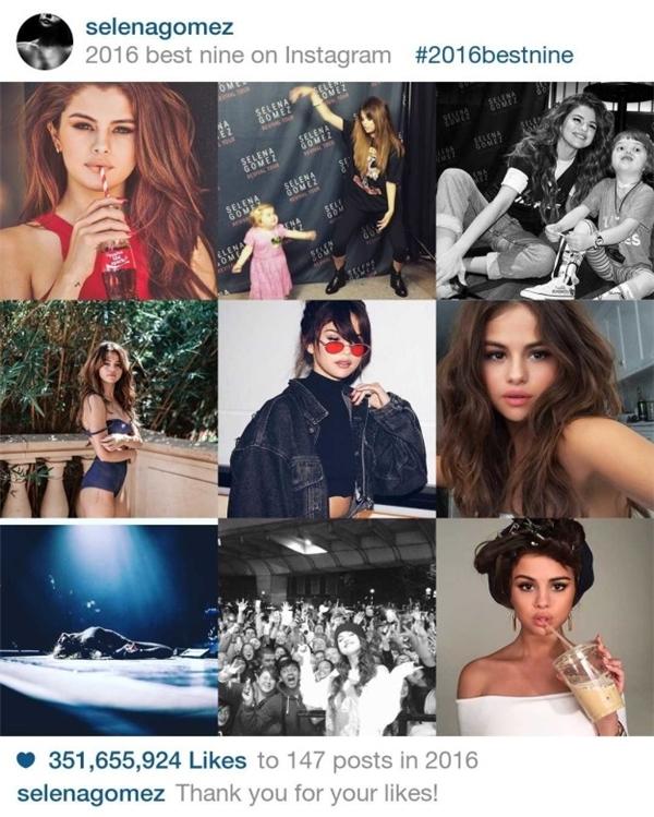 Phải đến vị trí thứ 8 mới xuất hiện nữ hoàng instagram Selena Gomez. Cô nàng đạt351.655.924 lượt like với 147 posts.