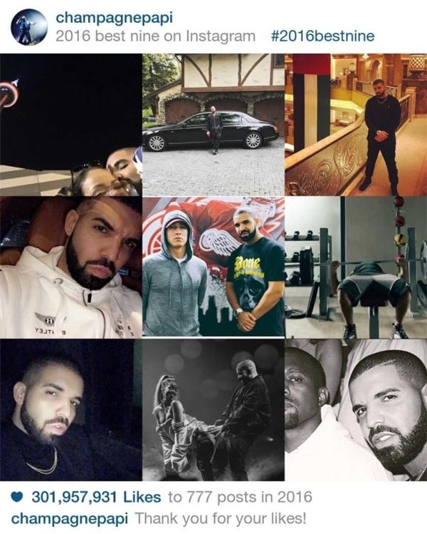 Khác vớiSelena Gomez, anh chàng rapper Drakephải post đến 777 bức hình mới thu về con số 301.957.931 lượt like.