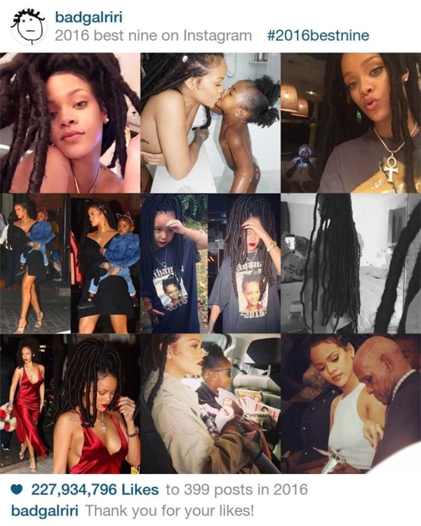 Rihanna - nữ hoàng nhạc số với 339 bức ảnhkhông cần đầu tư, chỉnh sửa lung linh nhưng vẫn thu về 227.934.796 lượt like trong năm qua.