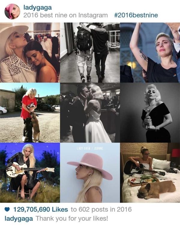 """Nữ ca sĩ lập dị Lady Gaga không nhận được nhiều ưu ái trên instagram khi với 602 bức ảnh nhưng chỉ nhận được129.705.690 lượt like. Trong đó, bức hình nhận được nhiều like nhất củaLady Gaga trong năm qua là khoảnh khắc chụp cùng""""Nữ hoàng Instagram"""" Selena Gomez."""