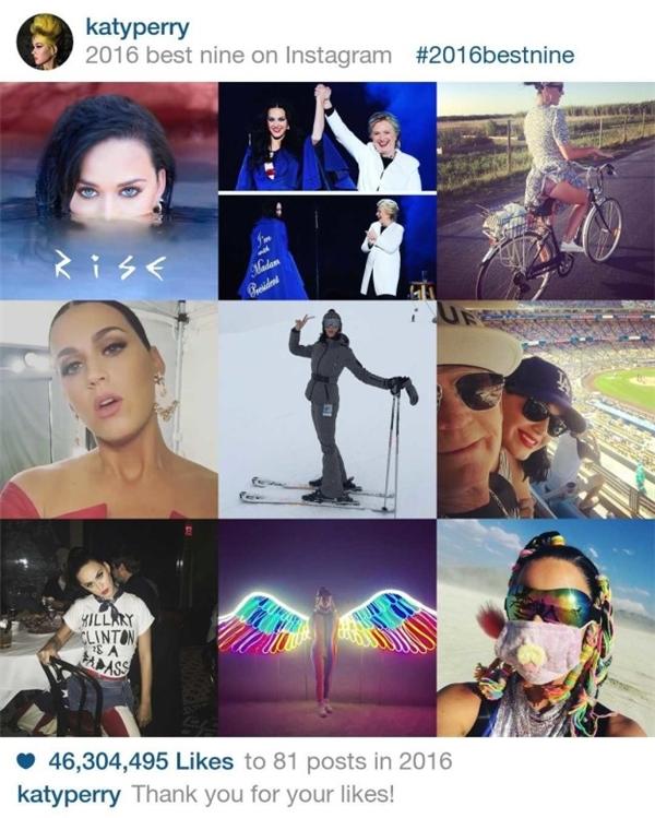 Mặc dù không đầu tư nhiều cho instagram nhưng Katy Perry vẫn cùng mọi người thử ứng dụng 2016 Best nine. Tổng số lượt like của cô nàng là hơn 46 triệu với 81 bài đăng.