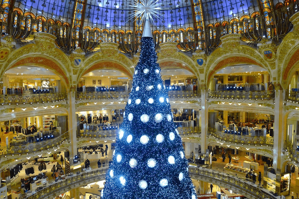 Một cây thông tỏa ra ánh sáng xanh kì ảo bên trong một khu trung tâm thương mại ở Paris, Pháp.   Cây thông nổi tiếng thế giới tại Rockefeller's Plaza ởNew York.