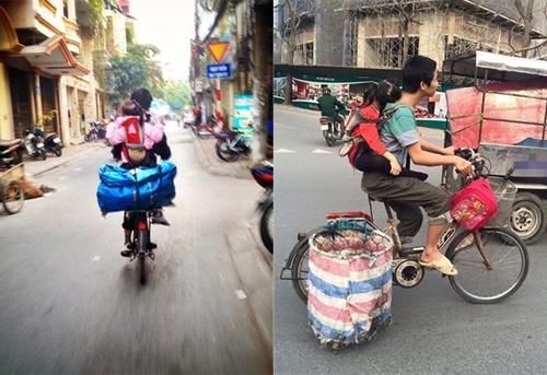 Tháng 5/2016, bức ảnh ông bố địu con nhặt rác tại quận Long Biên (Hà Nội) gây thổn thức cho người xem. Được biết, khoảng 17g hằng ngày, ông bố sẽ đến trường đón con gái rồi đi làm việc tiếp.