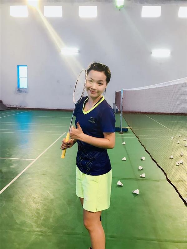 Hình ảnh xinh đẹp củaThùy Dungkhi thi đấu và tập luyện.(Ảnh: FBNV)