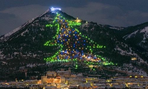Cây thông khổng lồ được tạo nên từ những ngọn đèn ở Ý.