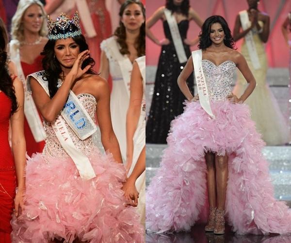 """Năm 2011, Ivian Sarcos, nhan sắc đến từ """"cường quốc hoa hậu"""" Venezuela cũng gây ấn tượng mạnh trên sân khấu Miss World với dáng váy phồng xòe. Thiết kế này trở thành một trong những bộ váy ấn tượng nhất trên sân khấu Hoa hậu Thế giới."""