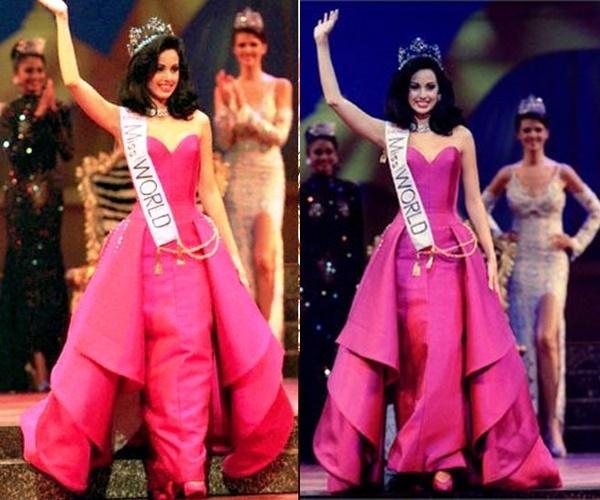 Nhắc đến màu hồng của người đăng quang Hoa hậu Thế giới không thể quên đi bộ váy của nhan sắc đến từ Venezuela Jacqueline Aguilera. Cô là Hoa hậu Thế giới 1995. Thiết kế với sắc hồng neon thẫm khiến khán giả không thể nào quên.