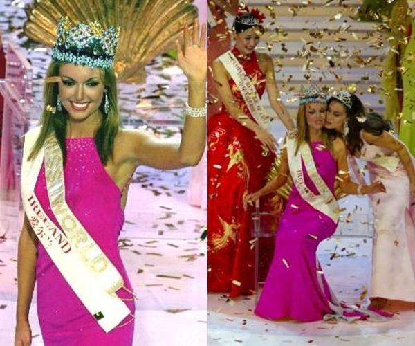 Hoa hậu Thế giới 2003 Rosanna Davison cũng chọn bộ váy trong đêm chung kết có màu hồng tím thẫm nhưng với phom dáng đơn giản hơn.